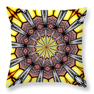 Throw Pillow featuring the photograph Stained Glass Kaleidoscope 23 by Rose Santuci-Sofranko