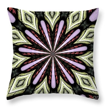 Throw Pillow featuring the photograph Stained Glass Kaleidoscope 25 by Rose Santuci-Sofranko