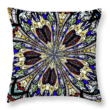 Throw Pillow featuring the photograph Stained Glass Kaleidoscope 38 by Rose Santuci-Sofranko
