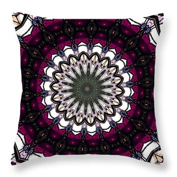 Throw Pillow featuring the photograph Stained Glass Kaleidoscope 4 by Rose Santuci-Sofranko