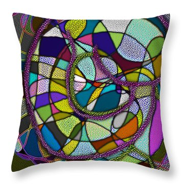 Throw Pillow featuring the digital art Stained Glass Mother And Child by Iowan Stone-Flowers