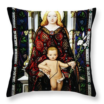 Stained Glass Of Virgin Mary Throw Pillow by Adam Romanowicz