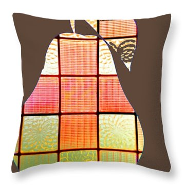 Stained Glass Pear Throw Pillow