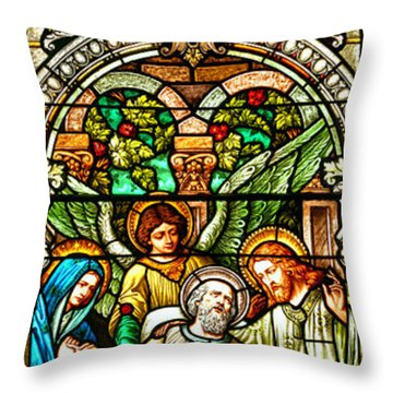 Throw Pillow featuring the photograph Stained Glass Scene 1 Crop by Adam Jewell