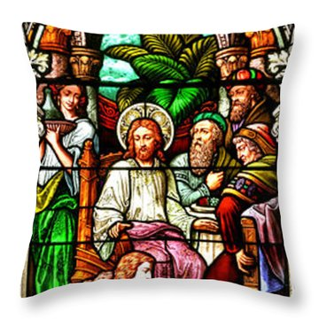 Throw Pillow featuring the photograph Stained Glass Scene 11 by Adam Jewell