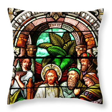 Throw Pillow featuring the photograph Stained Glass Scene 11 Crop by Adam Jewell