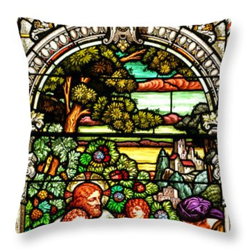Throw Pillow featuring the photograph Stained Glass Scene 12 by Adam Jewell