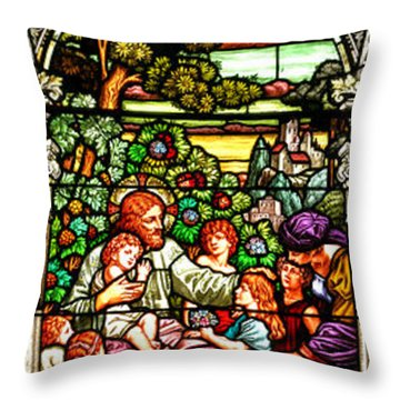 Throw Pillow featuring the photograph Stained Glass Scene 12 Crop by Adam Jewell