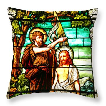 Throw Pillow featuring the photograph Stained Glass Scene 2 by Adam Jewell