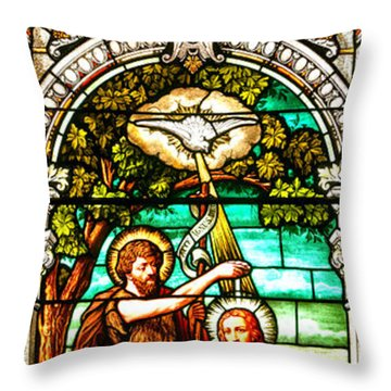 Throw Pillow featuring the photograph Stained Glass Scene 2 Crop 2 by Adam Jewell