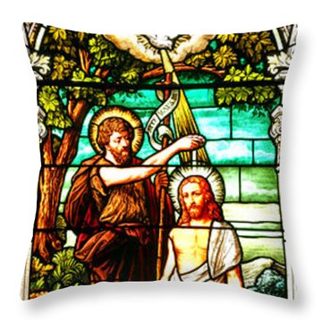 Throw Pillow featuring the photograph Stained Glass Scene 2 Crop by Adam Jewell