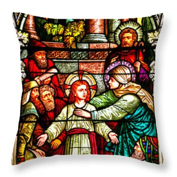 Throw Pillow featuring the photograph Stained Glass Scene 3 by Adam Jewell