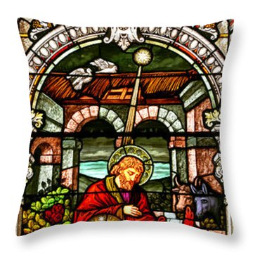 Throw Pillow featuring the photograph Stained Glass Scene 4 - 2 by Adam Jewell
