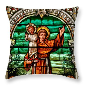 Throw Pillow featuring the photograph Stained Glass Scene 6 Crop by Adam Jewell