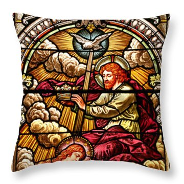 Throw Pillow featuring the photograph Stained Glass Scene 7 Crops by Adam Jewell