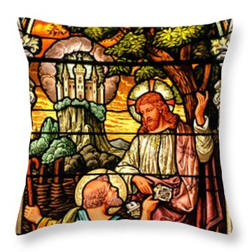 Throw Pillow featuring the photograph Stained Glass Scene 9 by Adam Jewell