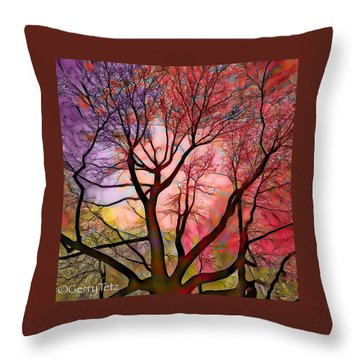 Stained Glass Sunrise 2 Throw Pillow