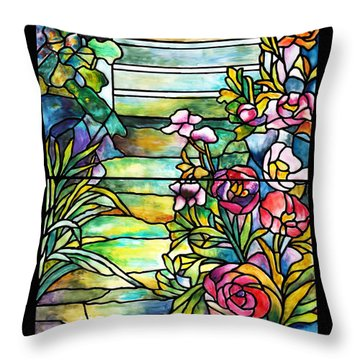 Stained Glass Tiffany Robert Mellon House Throw Pillow by Donna Walsh