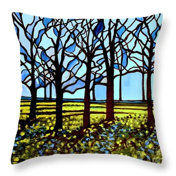 Stained Glass Trees Throw Pillow by Elizabeth Robinette Tyndall