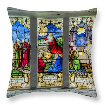 Stained Glass Triptych Throw Pillow