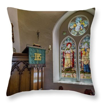 Throw Pillow featuring the photograph Stained Glass Uk by Adrian Evans