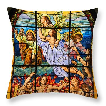 Throw Pillow featuring the photograph Stained Glass Window by Elizabeth Budd