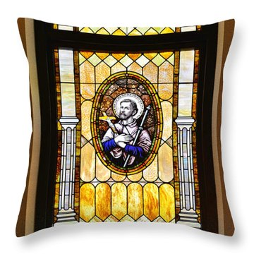 Throw Pillow featuring the photograph Stained Glass Window Father Antonio Ubach by Christine Till