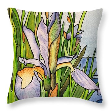 Stained Iris Throw Pillow