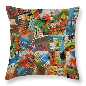 Stained Newspaper Pages Throw Pillow