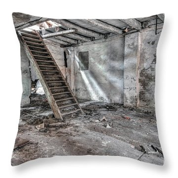 Throw Pillow featuring the photograph Stair In Old Abandoned  Building by Michal Boubin