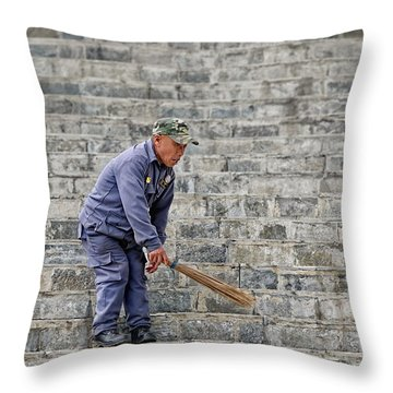 Stair Sweeper In Bhutan Throw Pillow