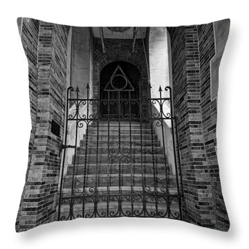 Stairs Beyond B-w Throw Pillow by Christopher Holmes