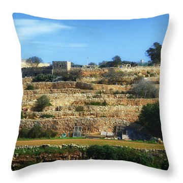 Stairs Of Rubble Throw Pillow by Stephan Grixti