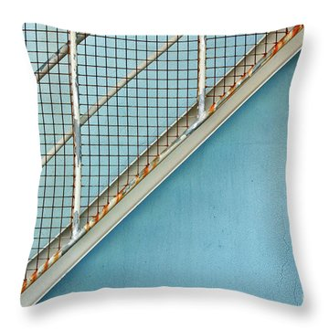 Stairs On Blue Wall Throw Pillow