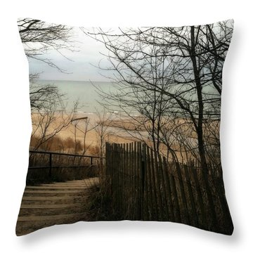 Throw Pillow featuring the photograph Stairs To The Beach In Winter by Michelle Calkins