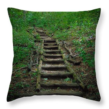 Stairway At Unicoi Gap On The At Throw Pillow