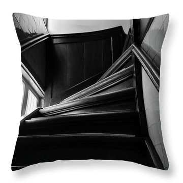 Stairway In Amsterdam Bw Throw Pillow by RicardMN Photography