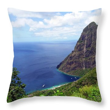 Throw Pillow featuring the photograph Stairway To Heaven View, Pitons, St. Lucia by Kurt Van Wagner
