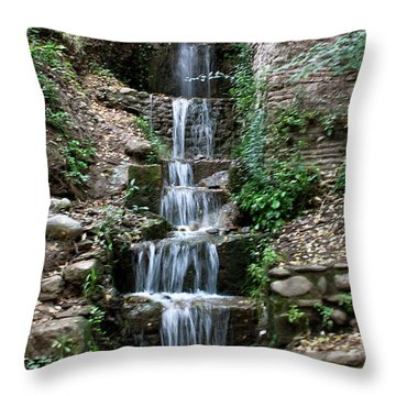 Stairway Waterfall Throw Pillow by Lorraine Devon Wilke