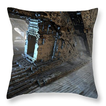Stairwell To Basement Throw Pillow by Hal Tenny