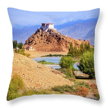 Throw Pillow featuring the photograph Stakna Monastery by Alexey Stiop