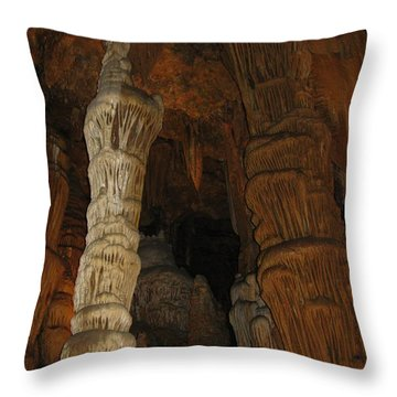 Stalacmites In Luray Caverns Va  Throw Pillow