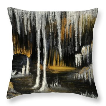Throw Pillow featuring the painting Stalactite Cave by Anastasiya Malakhova
