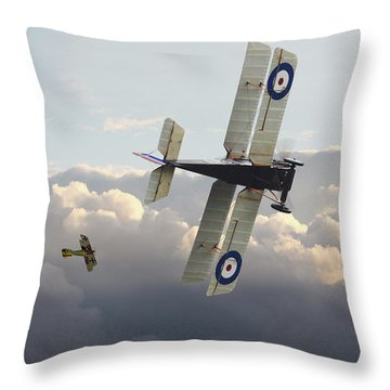 Throw Pillow featuring the digital art Stalked - Se5 And Albatros Dlll by Pat Speirs