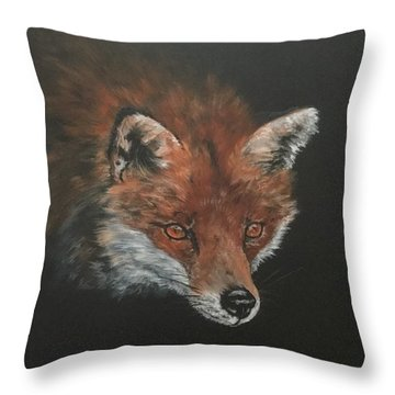 Red Fox In Stalking Mode Throw Pillow
