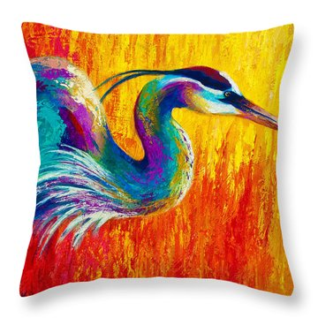 Stalking The Marsh - Great Blue Heron Throw Pillow