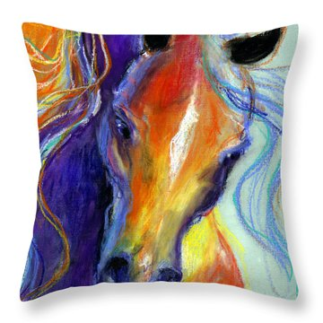 Stallion Horse Painting Throw Pillow