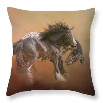 Stallion Play Throw Pillow