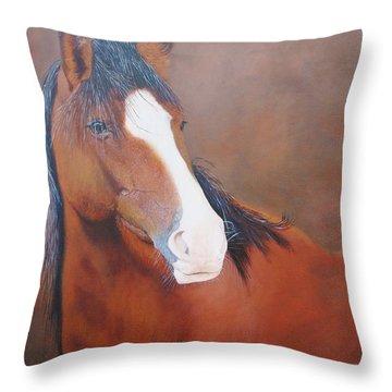 Stallion Portrait Throw Pillow by Jean Yves Crispo