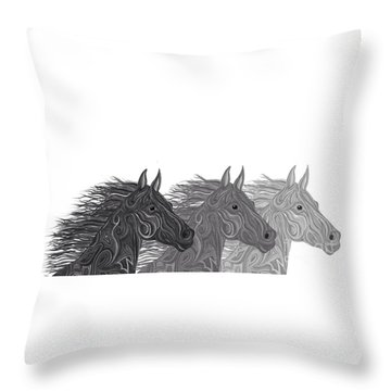 Throw Pillow featuring the drawing Stallions Shades by Nick Gustafson